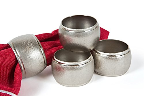 (Manor Luxe Textured Metal Napkin Rings, Set of 4, Silver)