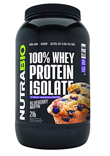NutraBio 100% Whey Protein Isolate (Blueberry Muffin, 2 Pounds)
