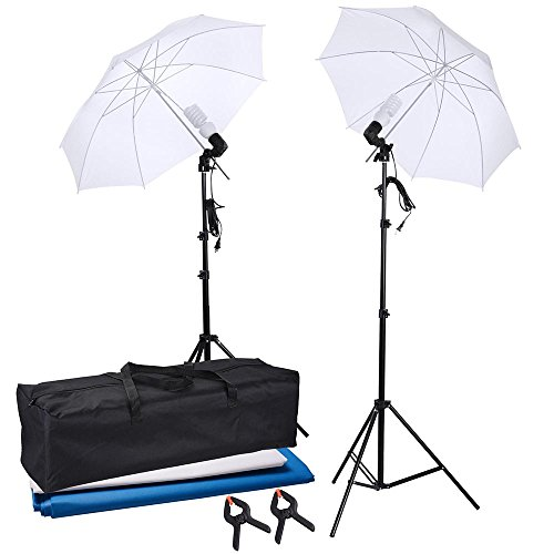 AW Portable Flat Clothing Photography Kit w/ backdrop 2x 45W Bulb 2x 33″ Translucent White Umbrella Set