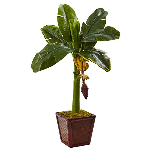 Nearly Natural 5968 Banana Tree in Wooden Planter