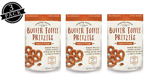 Everton Toffee Butter Toffee Pretzels, Toasted Pecan Flavor (4 oz. bag, 3-pack), Gourmet Artisan Toffee Covered Pretzels, Sweet and Salty Mini Pretzel Snacks, Small Batch Crafted (Toffee Pretzel)