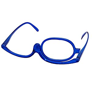 Misright Magnifying Glasses Makeup Reading Glass Folding Eyeglasses Cosmetic General +1.0 To +4.0 (+3.0, Blue)