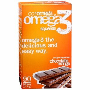 Coromega Omega-3 Squeeze Packets, Chocolate Orange 90 (90 Daily Dose Packets)