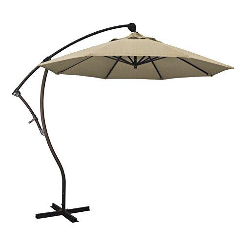 California Umbrella 9' Round Aluminum Cantilever Umbrella, Crank Lift, 360 Rotation, Bronze Pole, Sunbrella Heather Beige California Cantilever Umbrella