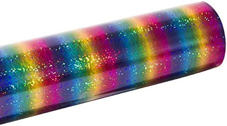 Heat Transfer Vinyl Holographic Stripe Multi 2 by 30.5x100cm for DIY Clothing