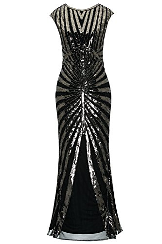 Metme Women's 1920s Vintage Fringed Sequin Long Flapper Gatsby Dress for Party (M, Black+Bronze)