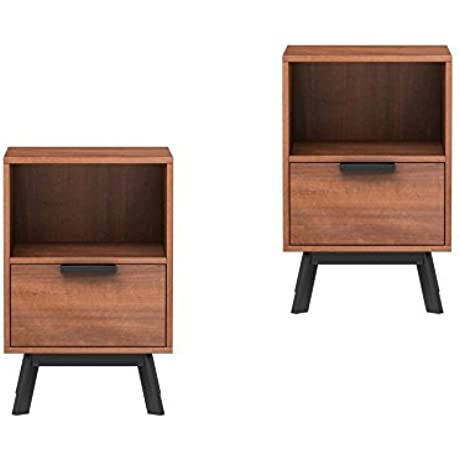Mainstays Mid Century Modern 1 Drawer Nightstand In Vintage Umber Finish Set Of 2