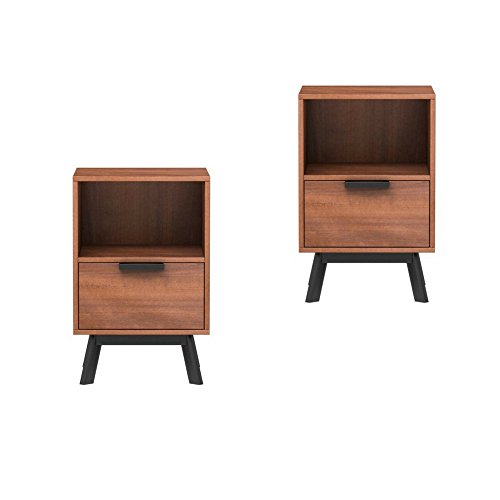 Mainstays Mid Century Modern 1 Drawer Nightstand in Vintage Umber Finish, Set of 2 by Mainstay