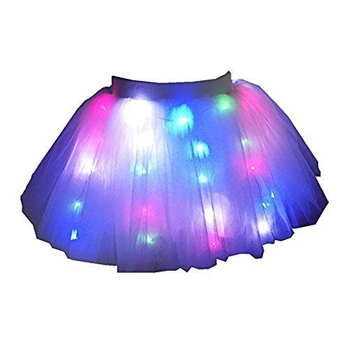 SHINYOU Women Tutu Skirts, A Line Short Knee Length Tutu Tulle LED Skirt Ballet Skirt Net Yarn for Party Chirstmas Gift (Multi -