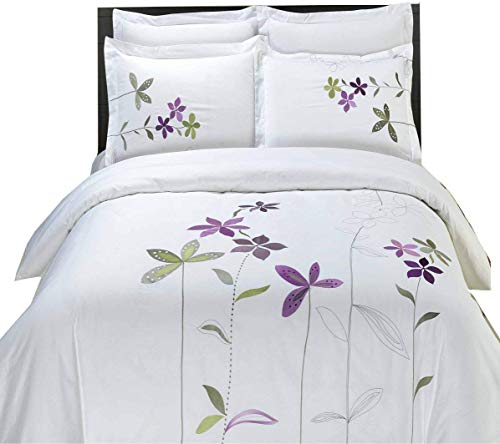 5PC- King/Cal-King South-Garden White Duvet Cover Set By Hotel Collection