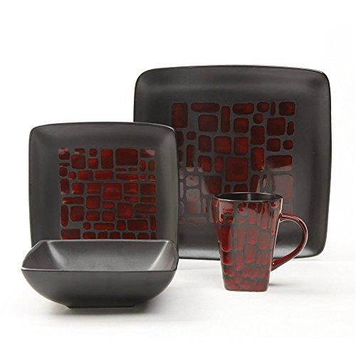 Gibson Elite Cabazon 16 Piece Dinnerware Set in Red - 1 Year