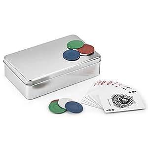 B2ACTION Set de Póker Portátil. Completo y Elegante. Incluye 2 Barajas de Cartas y 100 Fichas en Cuatro Colores.