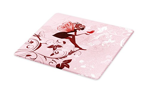 Lunarable Fantasy Cutting Board, Fairy Pixie Girl Madam Butterfly with Curved Flower Cute Girls Surreal Print, Decorative Tempered Glass Cutting and Serving Board, Small Size, Pale Pink - Pixie Cutting Table