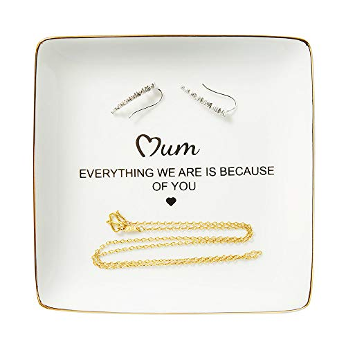Ring Trinket Dish, Mother Gifts from Daughter or Son - Mum, Everything We are is Because of You, Gift Ideas for Mother's Day, Thanksgiving Day, Christmas