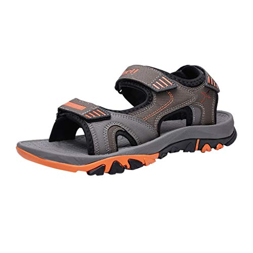AHAYAKU Summer Men Sandals Breathable Outdoor Beach Sandals Casual Fashion Flats Shoes Orange