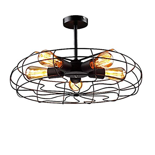 Black Wrought Iron Pendant Light in US - 5