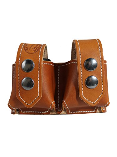 Barsony New Saddle Tan Leather Revolver Double Speed Loader Pouch for 6-7 Shot .357