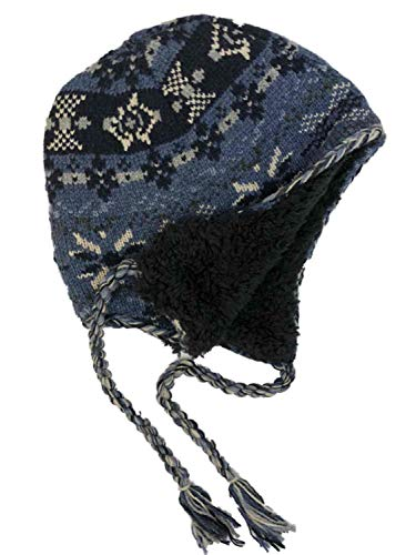 - Mens Blue Snowflake Peruvian Style Wool Blend Trapper Hat Sherpa Lined
