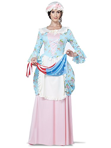 California Costumes Women's Colonial Lady Costume, Blue/Pink,