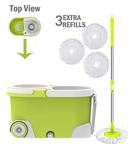 ALLZONE Spin Mop Bucket with Wringer On Wheels, Hardwood Floor Cleaning System, with 3 Microfiber Mop Refills, 1 Year Warranty