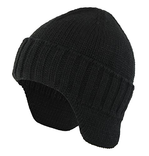 Home Prefer Mens Winter Knit Earflap Hat Cuffed Beanie with Ears Warmer Black ()
