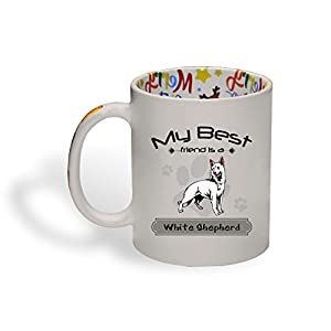 Ceramic Christmas Coffee Mug My Best Friend Is White Shepherd Dog Funny Tea Cup 29