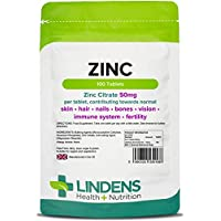 Lindens Zinc Citrate 50mg Tablets   100 Pack   High Strength 150% NRV dose contributing towards normal skin, hair, nails, bones, vision, immune system and fertility