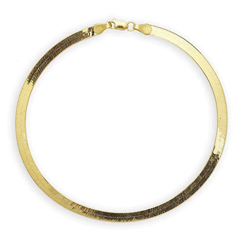 14K Italy Gold Plated 3mm Herringbone Anklet Bracelet Chain - Herringbone Anklet