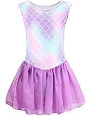 Girls Kids Gymnastics Leotards Skirted Sparkly Shiny Scale Tutu Dance Dress 4-10Years Practice Outfit
