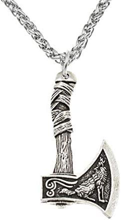 TUDUDU Nordic Viking Mango Hacha Colgante Collar Doble Cara Runa Plata Bronce Antiguo Hacha Collar