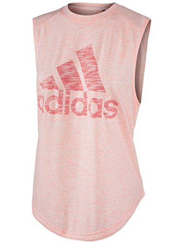 adidas Women's Athletics Graphic Drop Hem Muscle Tee, Ice Pink, Large