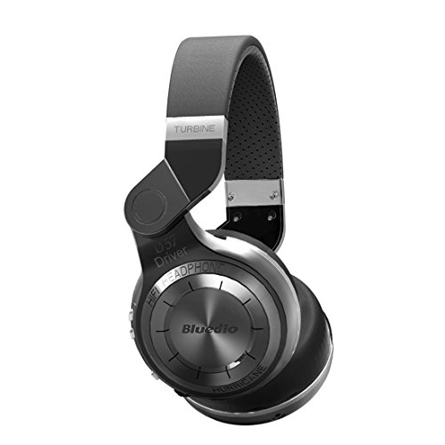 Bluedio T2 Bluetooth Wireless Stereo Swiveling Headphones with Mic, 57mm Drivers,Black