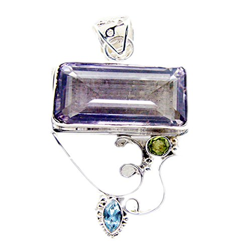 55Carat Natural Amethyst Silver Pendant for Women February Birthstone Charms Chakra Healing Rectangle Shape ()