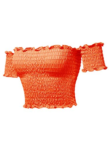 (Sexy Off Shoulder Shirring Smocking Crop Top Neon Orange M)