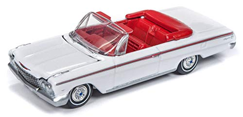 1962 Chevrolet Impala Open Convertible White with Red Interior Vintage Muscle Limited Edition to 4,128 Pieces Worldwide 1/64 Diecast Model Car by Autoworld 64192/ AWSP014 A
