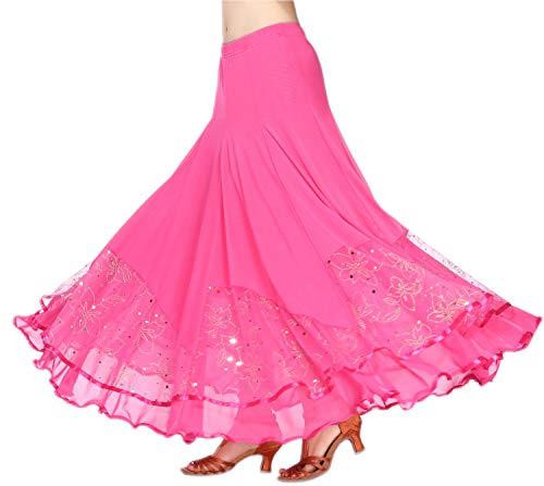 CISMARK Women's Ballroom Dancing Latin Dance Salsa Tango Swing Skirt Rose