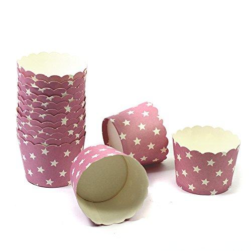 50 Frau Wundervoll Muffin Backformen aus stabilem Papier - rosa mit weißen Sternen, klein Ø 5 cm - Muffinförmchen / Cupcake Backformen / Muffindeko aus stabilem Papier