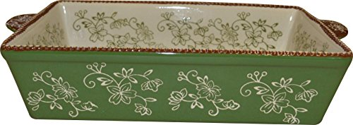 "Temp-tations 11""x7"" 2.5 Quart Baker Lasagna Casserole Dish Replacement - Floral Lace Green"