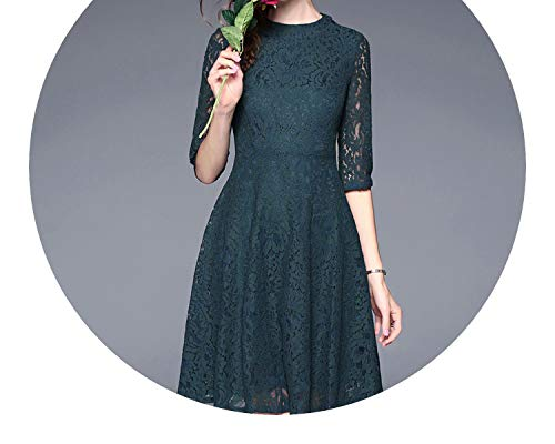 Vestido Vintage Dark Green Lace Dress Autumn Women 2018 Robe Dentelle Backless Retro Vestido K8917,Green,XL