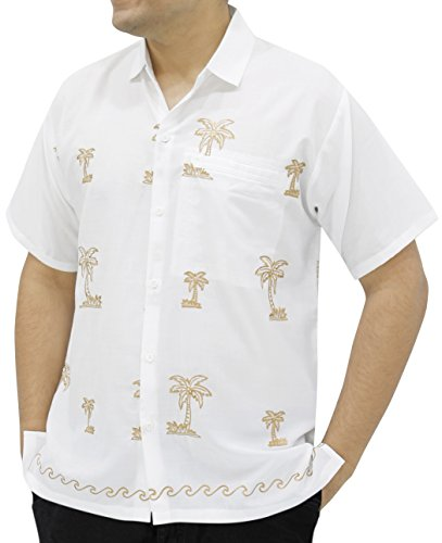 - LA LEELA Rayon Embroidery Camp Party Shirt White Large | Chest 44