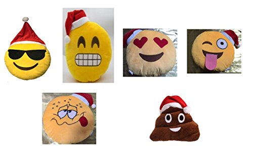 Set of 6 Santa Hat Emoji Pillows 12.5 Inch Large Yellow Smiley Emoticon - Cool Glasses, Wink Tounge Out Cheeky, Heart Eyes, Grin, Buzzed and Poop all with Santa Hat Collection.