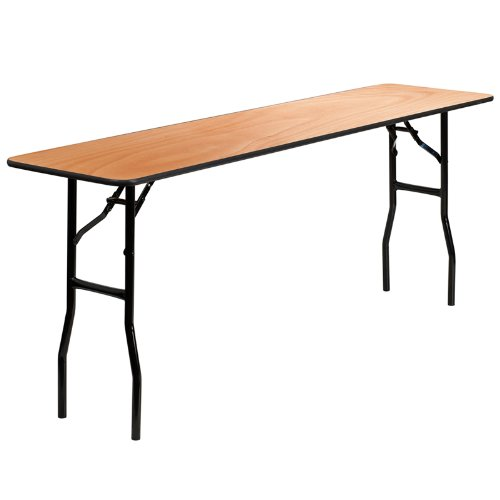 Flash Furniture 18'' x 72'' Rectangular Wood Folding Training / Seminar Table with Smooth Clear Coated Finished Top (Edge Rectangle Top Conference Table)