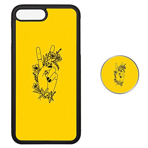 YANG HAOSDS Case For iPhone 7/8 plus, TPU Soft Cover for iPhone 7/8 plus with Multi-functional Pop out Sockets - Yellow flower floral ()