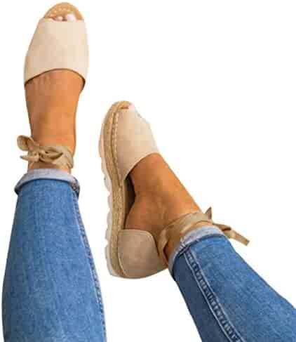 Creazrise Womens Summer Flat Lace Up Espadrilles Shoes Ladies Chunky Holiday Peep-Toe Sandals Beige