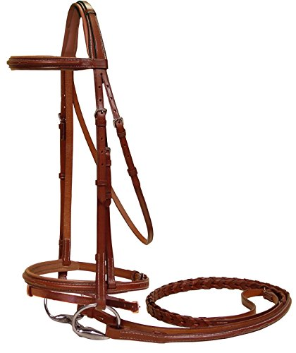 Paris Tack Fancy Stitched Crown Padded Bridle with Flash, Chestnut, Pony Size ()