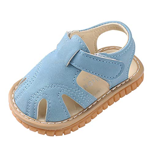 Newborn Baby Girls Boys Closed Toe Sandals Non-Slip Soft Rubber Sole First Walkers Infant Toddler Slippers Blue