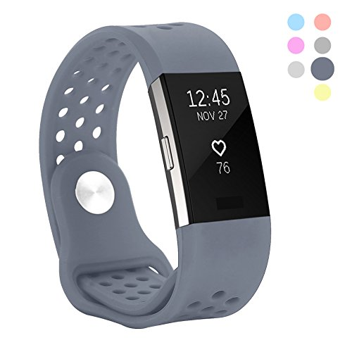 Hanlesi Band for Fitbit Charge 2, Soft Silicone Breathable Fashion Sport Strap for Fit bit Charge2 Replacement Original Accessory Black Wristband with Hole for Girl - Stainless Bracelet Textured Steel