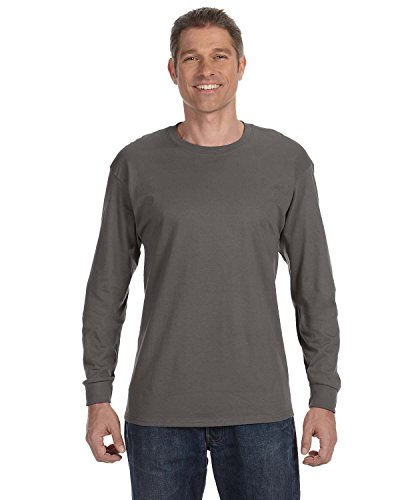 Hanes Men's ComfortSoft Long Sleeve Crewneck T-Shirt, Smoke Gray, Medium - Mens Crewneck Shirt