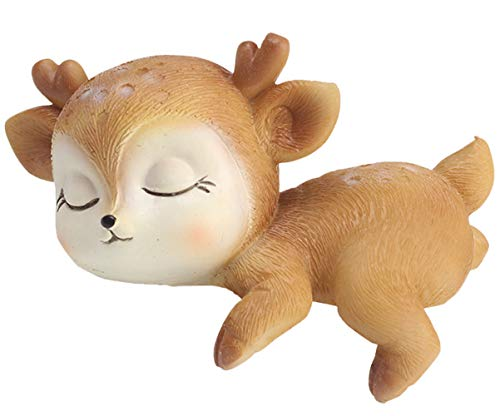 Resin Cute Deer Cake Topper, Resin Deer Figurines, Home & Party Decoration for Birthday Wedding Anniversary Party (Baby Deer, Hug) ()