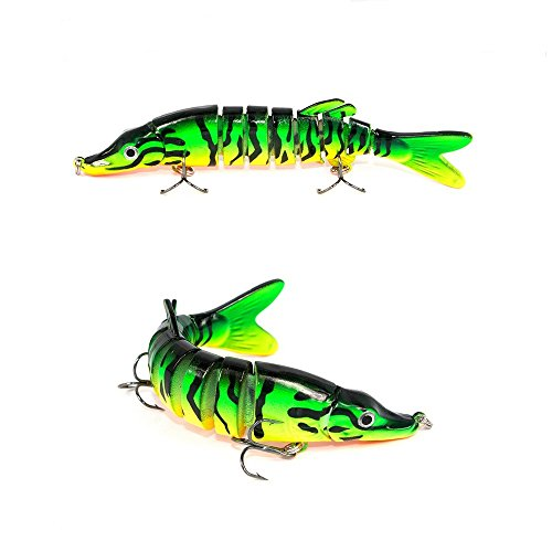 LKQBBSZ 8 Segment Swimbait Lures Fishing Lures Hard Bait Minnow Lure with Treble Hook Life-Like Swimbait Fishing Bait 3D Fishing Eyes Popper Crankbait Vibe Sinking Lure for Bass Trout Walleye